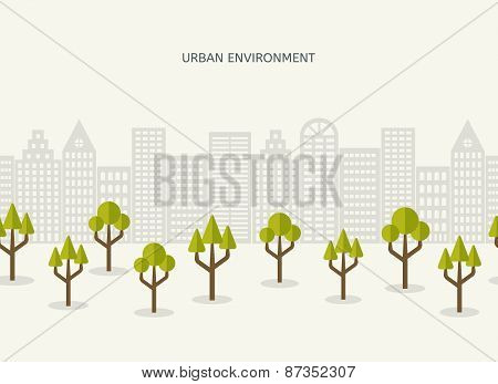 Urban park city landscape seamless border