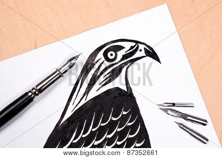 Fountain Pen With Ink Drawing Hawk.