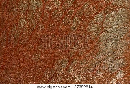 Brown natural Leather texture with golden spraying