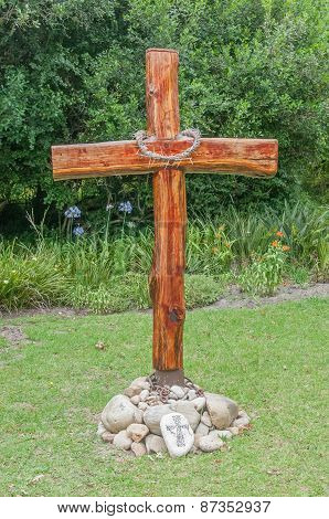 Wooden Cross With Thorn Crown At Belvidere