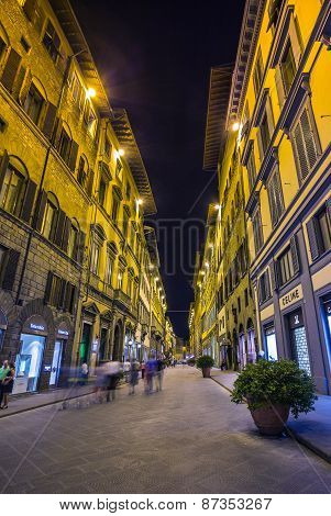 Night View Of The Town Square In Florence Italy