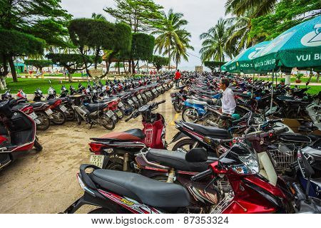 Motorcycles Of Many Brands Parking On A Street Side Of Nha Trang Capital