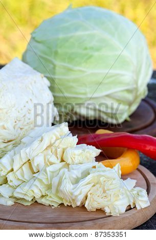 Fresh chopped cabbage