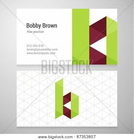 Modern Letter B Origami Business Card Template