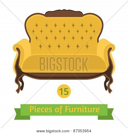 Furniture, Antique Sofa Baroque, Flat Design