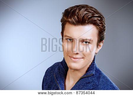 Portrait of a smiling young man. Businessman. Men's beauty, fashion.
