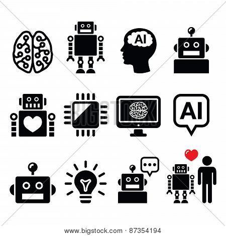 Artificial Intelligence (AI), robot icons set