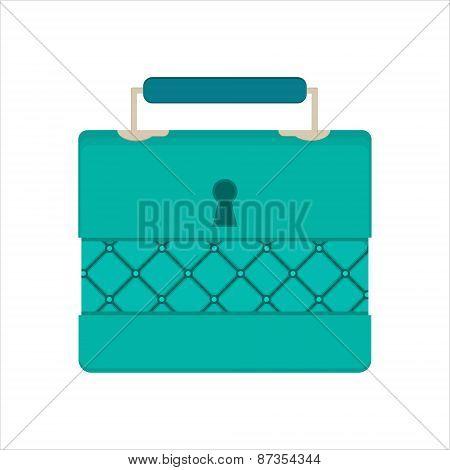 Casket For Jewelry, Jewelery Box On White Background, Flat Design