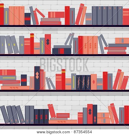 Seamless Pattern Bookshelves, Books On The Brick Wall Background