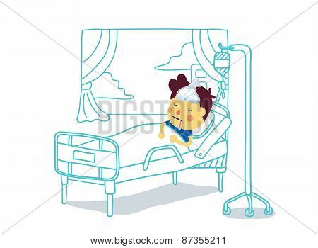 Sick Boy rest with sleep in patient room