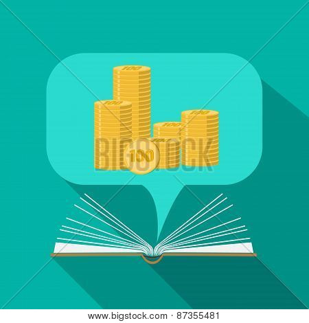 Business concept. Open book paper with speech cloud. Money in a speech cloud. Book of business. Busi