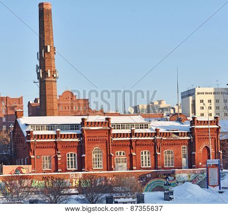 YEKATERINBURG, RUSSIA - JANUARY 2, 2015: Building of one of the first power plants in the city. Built in 1894 in brick style with elements of art nouveau, now the building is regional listed monument