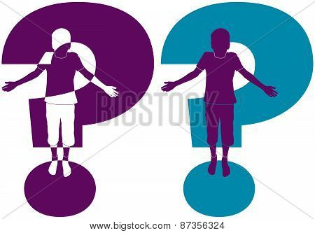silhouette of boy with question mark
