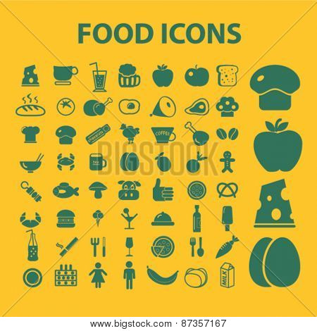 food isolated web icons, signs, illustrations concept design set, vector