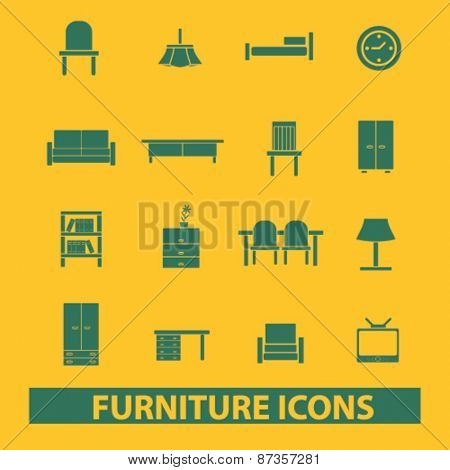 furniture, room, decoration, chair, sofa, table, tv isolated web icons, signs, illustrations concept design set, vector