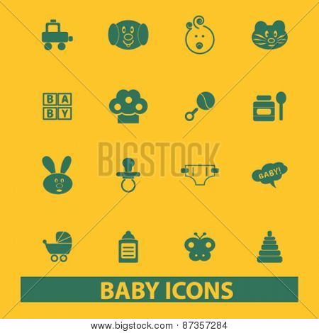 baby, children, toys isolated web icons, signs, illustrations concept design set, vector