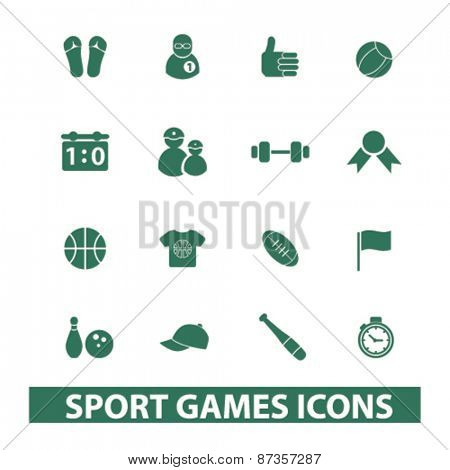 sport, games, fitness isolated web icons, signs, illustrations concept design set, vector