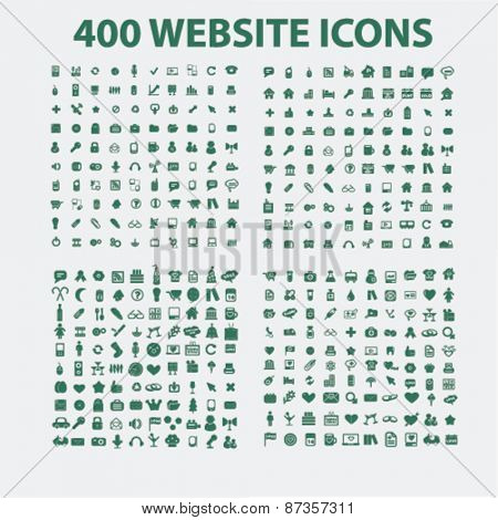 400 website, business, management, holidays, isolated icons, signs, illustrations concept design set, vector