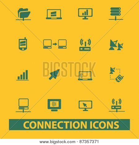 connection, technology isolated web icons, signs, illustrations concept design set, vector