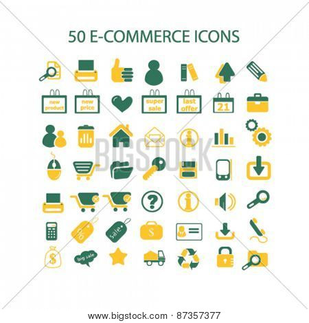 50 ecommerce, store, shop isolated web icons, signs, illustrations concept design set, vector