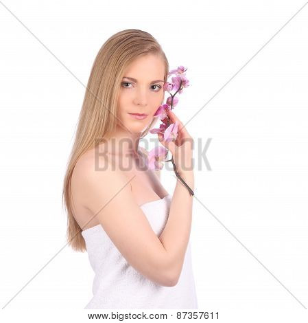 Beautiful Spa Girl With Orchid Flowers Skincare Concept