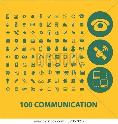 100 communication icons, signs set, vector