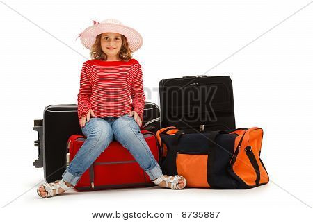 Young Girl With Luggages