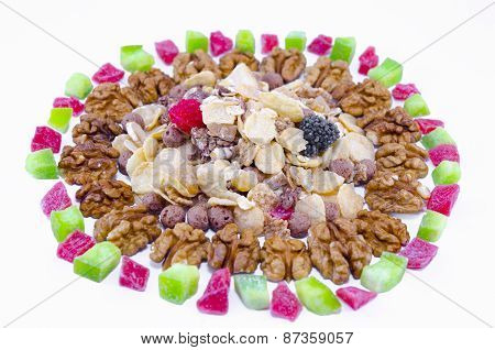 Muesli, Walnuts And Dried Fruit Isolated