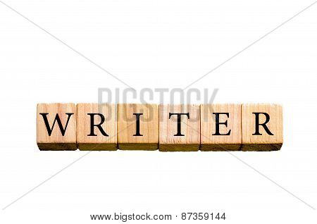 Word Writer Isolated On White Background With Copy Space
