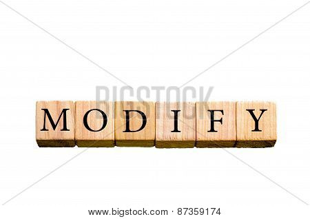 Word Modify Isolated On White Background With Copy Space