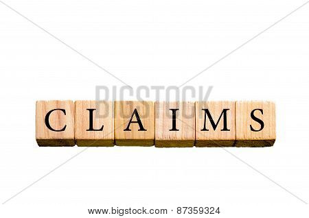Word Claims Isolated On White Background With Copy Space