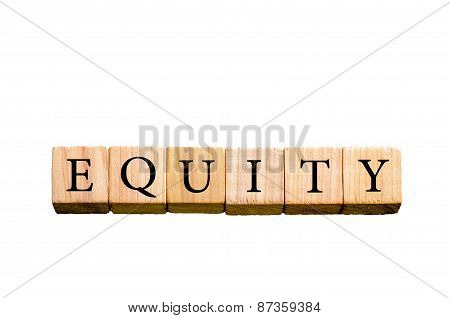Word Equity  Isolated On White Background With Copy Space