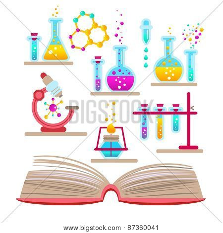 Set open book about science of chemistry.