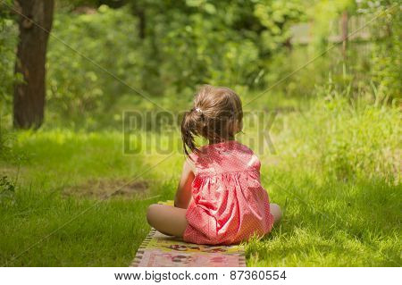 A little girl sitting on the grass, visible only in the back