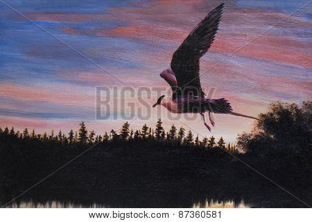 Bird On Sunset, Painting