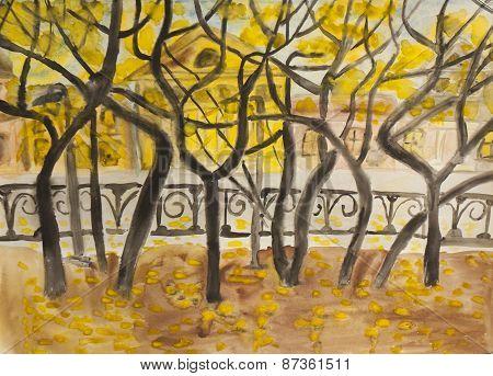 Autumn Boulevard, Painting