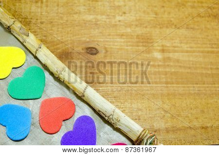 Bunch Of Colorful Hearts On The Edge Of A Frame