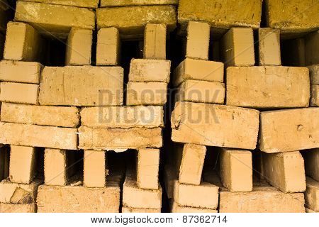 Stack Of Raw Bricks Drying In The Open Air