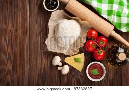 Pizza cooking ingredients. Top view with copy space