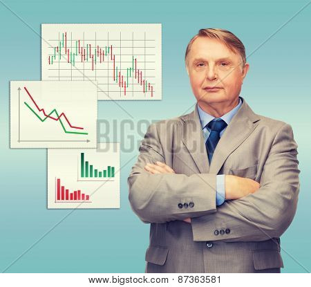 business, office and education concept - serious buisnessman or teacher in suit