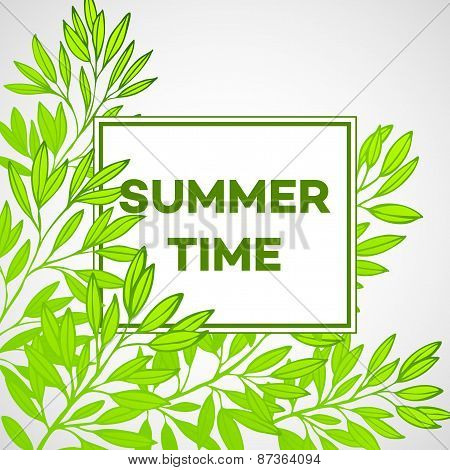Frame with leaves and the inscription Summer time. Vector illustration