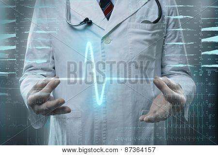 male doctor with heart pulse in hands