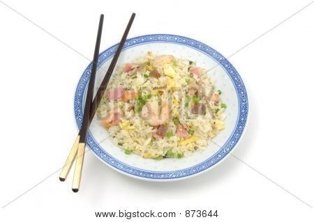 Plate Of Fried Rice And Chopsticks