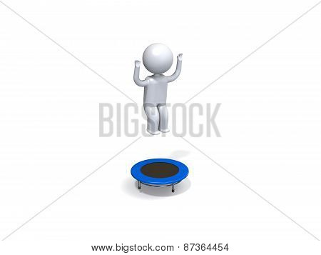 3d person on the trampoline