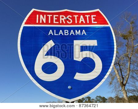 Highway sign for I-65 in Alabama