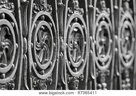 Ancient Forged Fence Of Gray Color