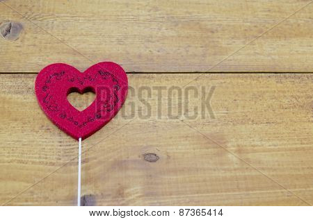 Red Engraved Heart On A Table