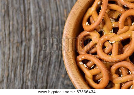 Bowl Of Crunchy And Salty Pretzels