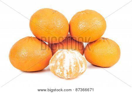 Whole Tangerines On White Background