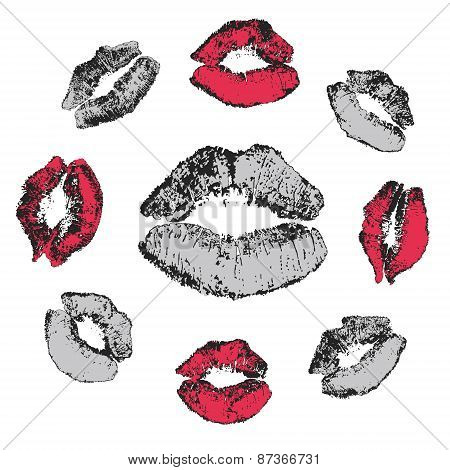 Set of grunge kisses